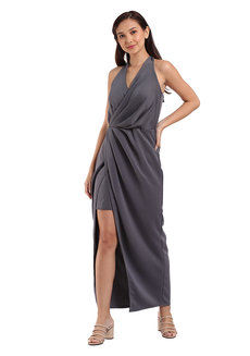 Darla Pleated Self-tie Dress by Lili Co. in Gray in Free Size