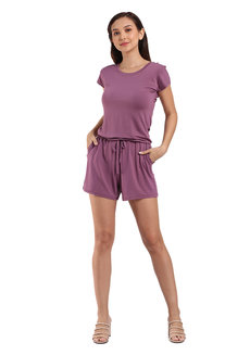 Carly Basic Romper by Lili Co. in Mauve in Free Size