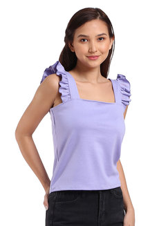 Angel Flounce Strap Top by Lili Co. in Lilac in Free Size