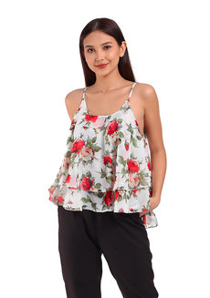 Alice Top by Ampersand in White/Red in Free Size