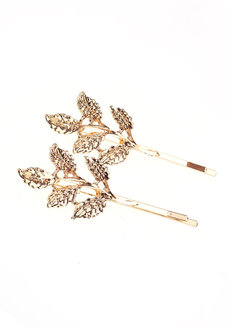 FIONA (Set of 2 Leaf Clip Set) by Kera & Co in Gold
