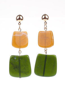 JULIA (Rectangular Acrylic Drop Earrings) by Kera & Co in Green