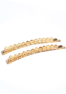 VINA (Set of 2 Rhinestone Clips) by Kera & Co in Yellow
