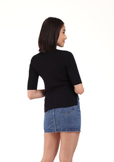 Ribbed High Neck Top by Mantou Clothing in Black in Free Size