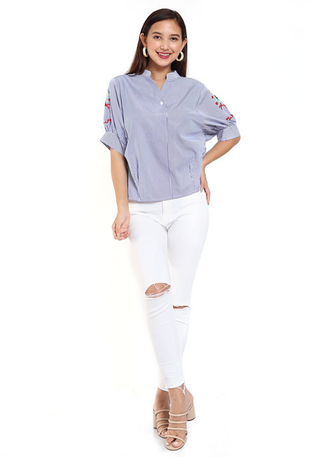 Bella Embroidered Blue Casual Polo by Fudge Rock