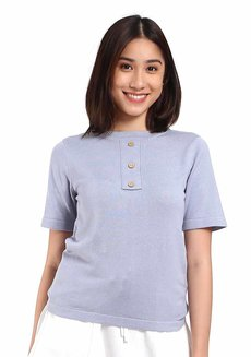 Button Sleeve Shirt by Mantou Clothing in Baby Blue in Free Size