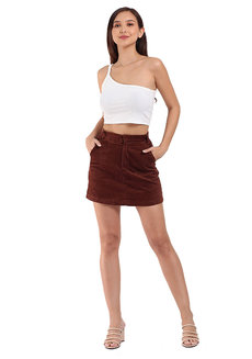 Corduroy Skirt by Mantou Clothing in Mahogany Brown in S