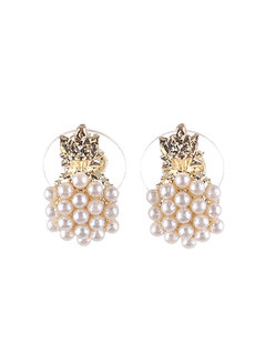 Macy (Pearl Pineapple Earrings) by Kera & Co in Gold