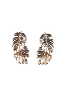 Krista (Tropical Leaf Drop Earrings) by Kera & Co in Gold
