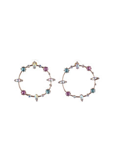 Kayla (Rhinestone Circular Earrings) by Kera & Co in Purple Multi Colored