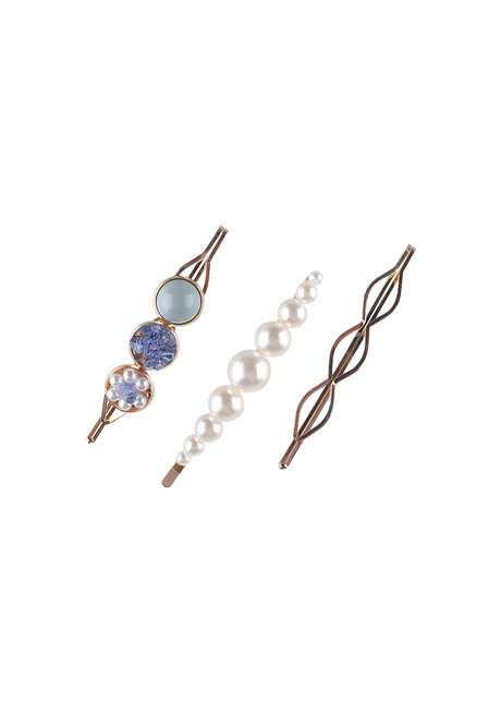 RIANNA (Set of Pearl, Metal and Acrylic Clips) by Kera & Co