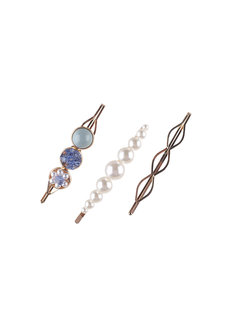 RIANNA (Set of Pearl, Metal and Acrylic Clips) by Kera & Co in Blue
