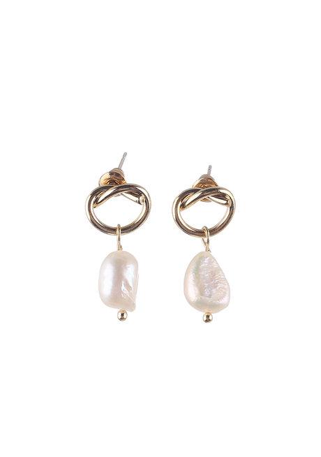 Marie (Pearl Drop Twist Earrings) by Kera & Co