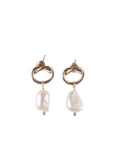MARIE (Pearl Drop Twist Earrings) by Kera & Co in Gold