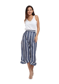Ara White Top-Striped Pants Terno by Flair & Stare
