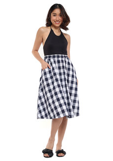 Checkered Midi Skirt by Pink Lemon Wear