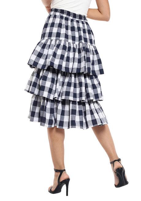 Checkered Midi Skirt with Ruffles by Pink Lemon Wear