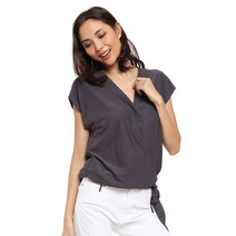 Noa Overlap Side Tie Top by Adorn Clothing