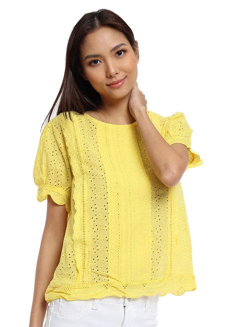 Elaine Eyelet Top  by Pink Lemon Wear