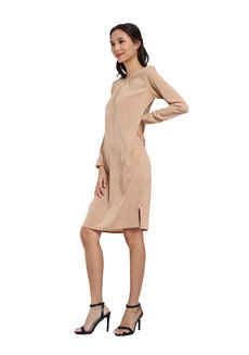 Pleated Soft Woven Crepe Dress by Vida Manila