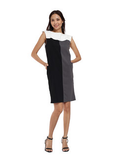 Tri Panel Fine Knit Crepe Dress by Vida Manila