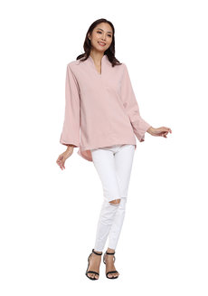 High Collar Vneck Knit Crepe Blouse by Vida Manila