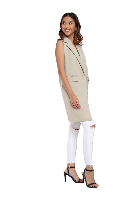 Long Wool Blend Vest by Vida Manila