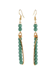 Green Coral Dangling Earrings by Bedazzled