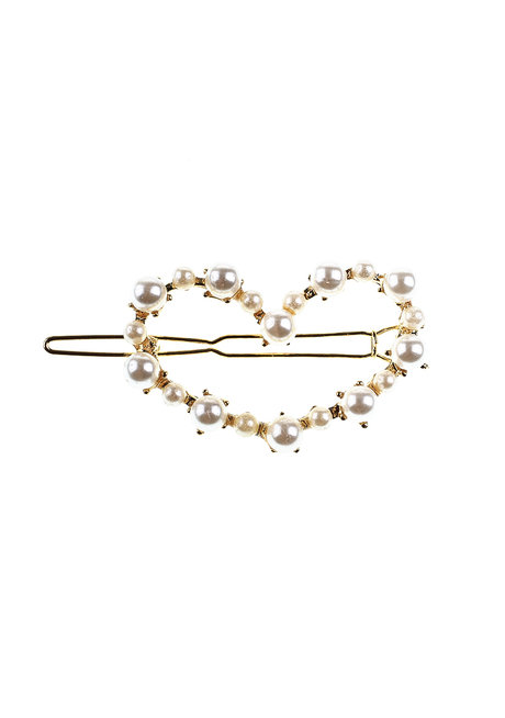 Heart Gold Pearl Clip by Adorn by MV