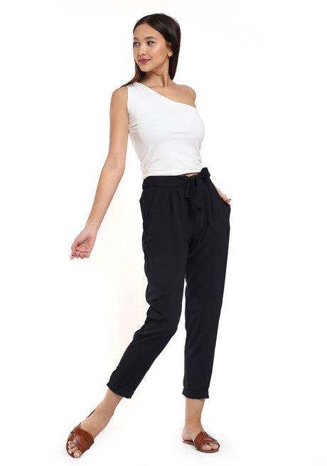 Cropped Trouser w/ Tie Belt by Glamour Studio
