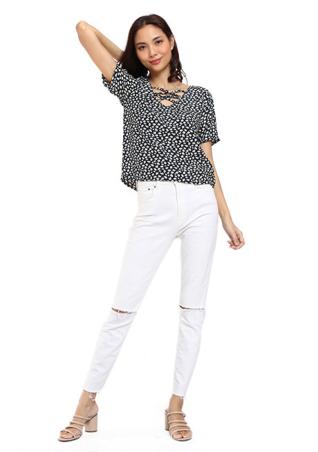 Printed Criss Cross Top by Glamour Studio