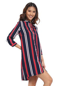 Striped Button Down Dress by Glamour Studio