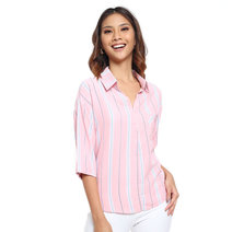 Striped Button Down Shirt by Glamour Studio