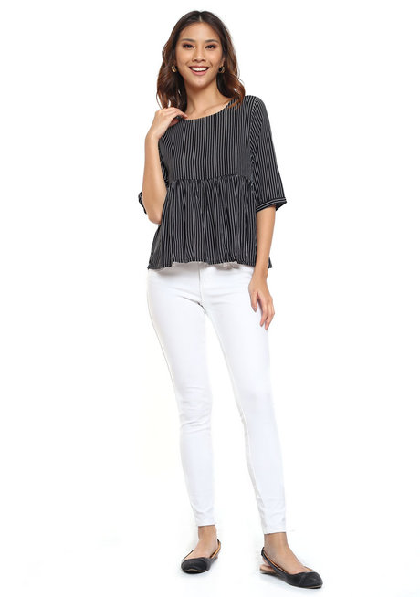 Striped Top with Ruffle Detail by Glamour Studio