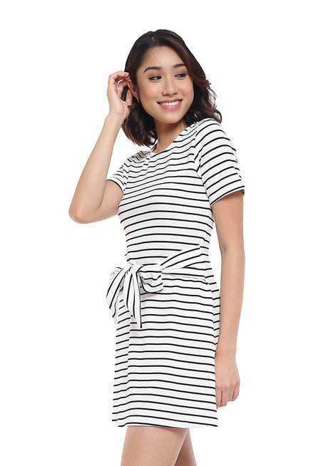 A Line Striped Dress with Tie Detail by Glamour Studio