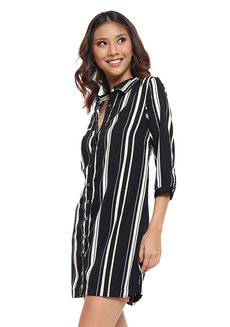 Striped Button Down Shirt Dress by Glamour Studio