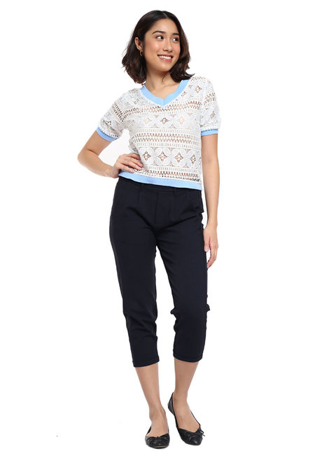 V Neck Lace Top with Ribbing Detail by Glamour Studio