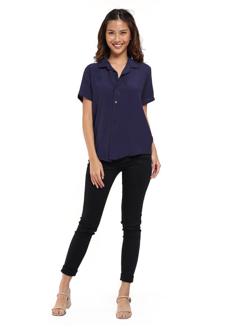 Short Sleeves Button Down Blouse by The Fifth Clothing