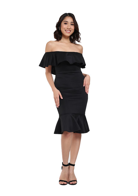 Andrea Off Shoulder Ruffle Hem Dress by Frassino Collezione