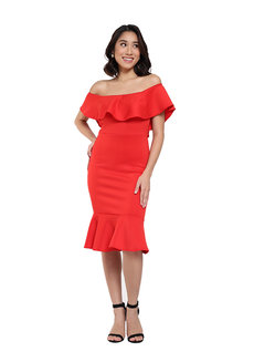 Andrea Off Shoulder Ruffle Hem Dress by Frassino Collezione