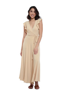 Amelia Ruffle Sleeve Maxi Dress by Frassino Collezione