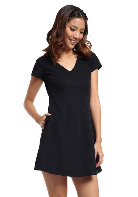 Ribbed Stretch Knit V-Neck Dress by Straightforward