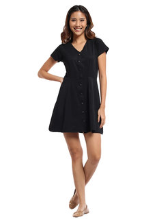 Satin Ribbed Knit Button Down Dress by Straightforward