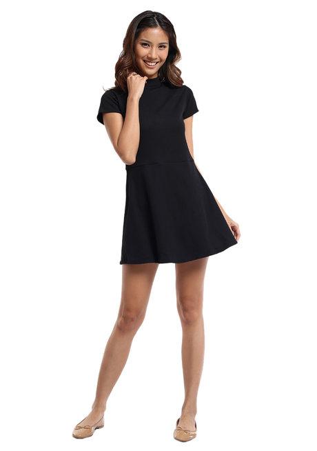 Ribbed Stretch Knit High Neck Dress by Straightforward