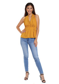 Open Back Peplum Top by The Fifth Clothing