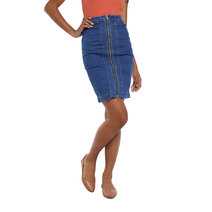 Full Zip Straight Denim Skirt by The Fifth Clothing