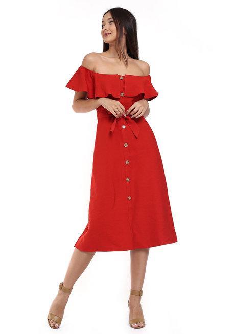 Off-Shoulder Button-Down Dress by Tansshop