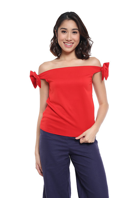 Anne Off Shoulder Ribbon Detail Top by Frassino Collezione