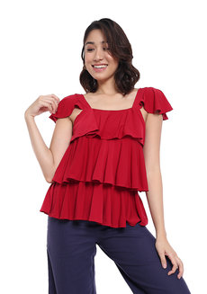 Adele Ruffle Tiered Top by Frassino Collezione