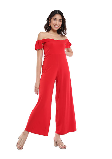 Annie Off Shoulder Ruffle Jumpsuit by Frassino Collezione
